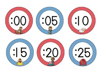 On the Farm Clock Numbers: Blue and Red Set