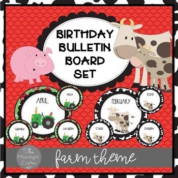 On the Farm EDITABLE Birthday Bulletin Board Display