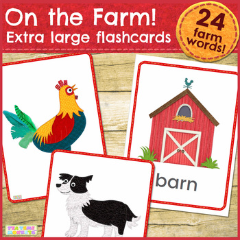 On the Farm Flashcards / Vocabulary cards / Picture Cards - EXTRA LARGE