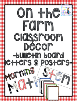 On the Farm Math Center, Writing Center, and Stem Bulletin Board Cut-Out Letters