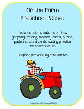 On the Farm Preschool Packet