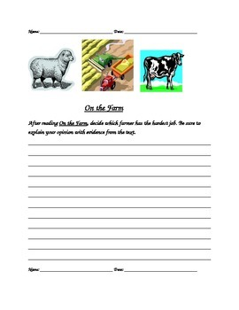 On the Farm Reading Response Differentiated