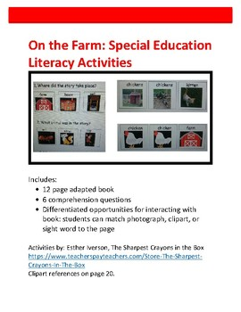 On the Farm: Special Education Literacy