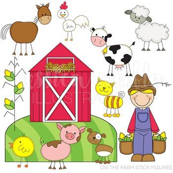On the Farm Stick Figures Cute Digital Clipart, Farmer Clip Art