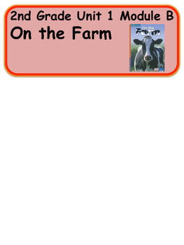 ReadyGen On the Farm Vocabulary Word Wall  2nd grade Unit1 Module B
