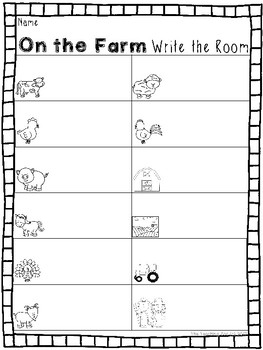 On the Farm Write the Room