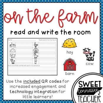 On the Farm Write the Room (QR codes included)