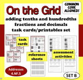 On the Grid - adding tenths and hundredths task cards & printables (set b)