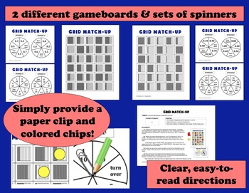 Grid Match-Up - relating tenths and hundredths game, activity cards, printables
