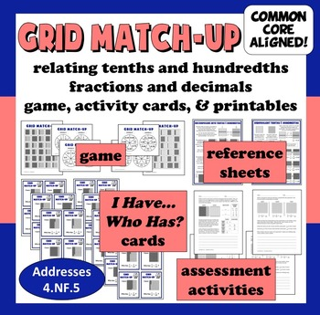 Grid Match-Up - relating tenths and hundredths game, activ