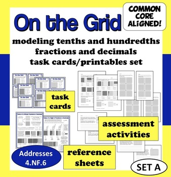 On the Grid - modeling decimals and fractions task cards & printables (set a)