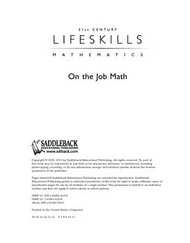 On the Job Math (21st Century Lifeskills Mathematics)