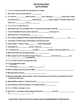 On the Rainy River Tim O'Brien Guided Reading Worksheet Crossword & Wordsearch