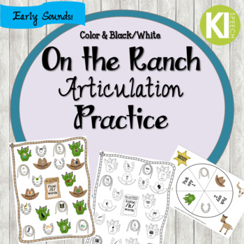 On the Ranch No Prep Articulation Practice - Early Sounds