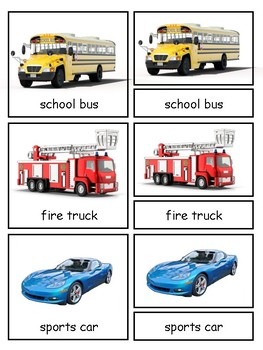 On the Road Montessori Transportation 3-part cards