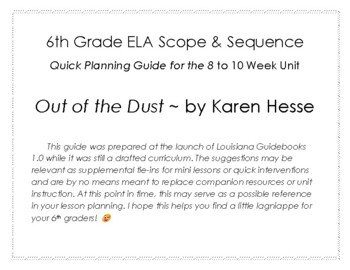 Out of the Dust Quick Planning Guide for Louisiana 6th Grade Unit