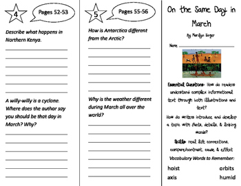 On the Same Day in March Trifold - ReadyGen 3rd Grade Unit 3 Module B