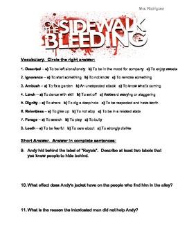 On the Sidewalk Bleeding Short Story Questions