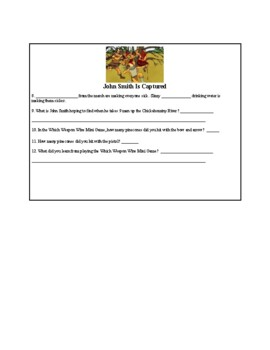 On the Trail of John Smith- Activity Sheet for the Website (5th Grade)