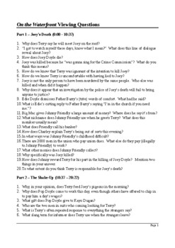 On the Waterfront - Detailed Viewing Questions (with Answers)