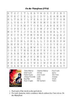 On the Waterfront Word Search - Character Names