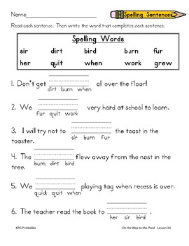 On the Way to the Pond:  First Grade Spelling and Sight Words Packet