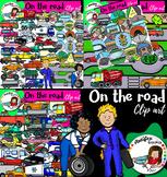 On the road clip art- Transportation Clipart- Big set of 88 graphics!
