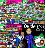 On the road clip art- Transportation Clipart- Big set of 8