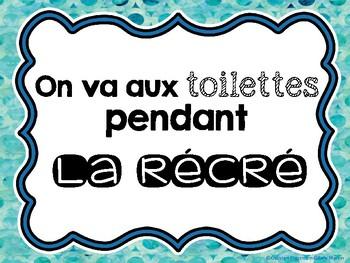 On va aux toilettes pendant la récré - Washroom During Recess Reminder Sign