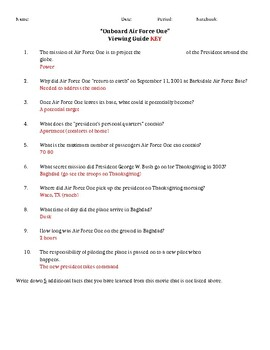 Onboard Air Force One Documentary Viewing Guide/Worksheet
