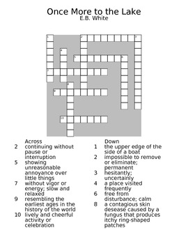 Once More to the Lake EB White Guided Reading Worksheet Crossword & Wordsearch