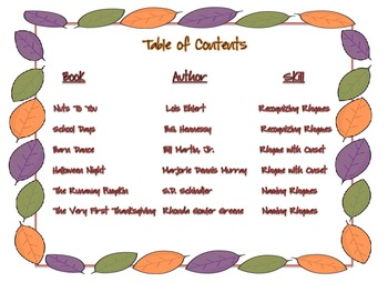 Once Upon a Rhyme- Fall Literature Links