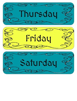 Once Upon a Time Castles and Dragons Decor Days of the Week