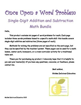 Once Upon a Word Problem: Single-Digit Addition and Subtraction