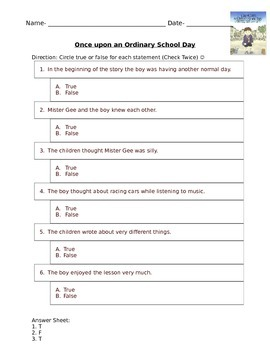 Once Upon an Ordinary School Day Quiz