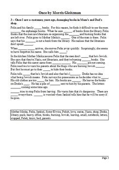 Once by Morris Gleitzman - Plot Summary as Cloze Test