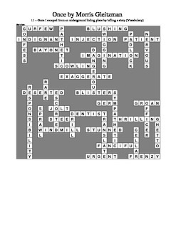 Once by Morris Gleitzman - Vocabulary Crossword Chapter 11