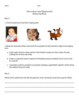 Once when I was shipwrecked Guided Reading Lesson