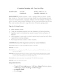 One-Act Play: Creative Writing Unit for Groups or Individual Students