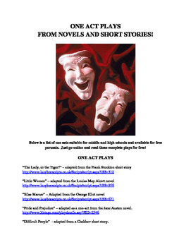One Act Plays from Novels and Short Stories