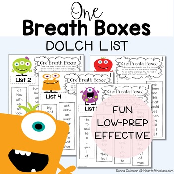 One Breath Boxes - Dolch Words
