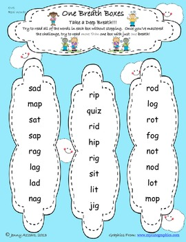 One Breath Boxes- Fluency and Decoding for Level 2 CVC, Digraphs, and Blends