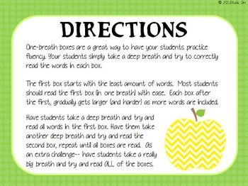 One Breath Boxes (Fry Instant Sight Words)