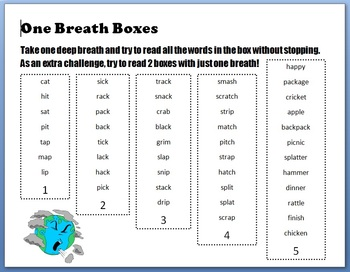 One Breath Boxes Short Vowel, Long Vowels, and High Frequency Words