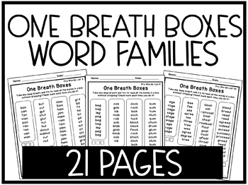 One Breath Words Practice Sheets - Word Families