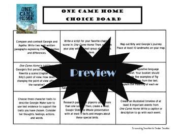 One Came Home Choice Board Novel Study Activities Menu Book Project Rubric