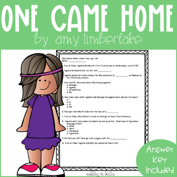 One Came Home Quick Comprehension Quiz Checks