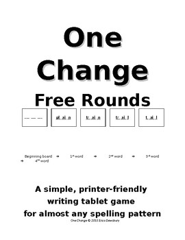 One Change Writing Table Game (free rounds)