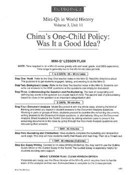 One Child Policy: DBQ