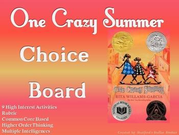 One Crazy Summer Choice Board Novel Study Activities Menu Book Project